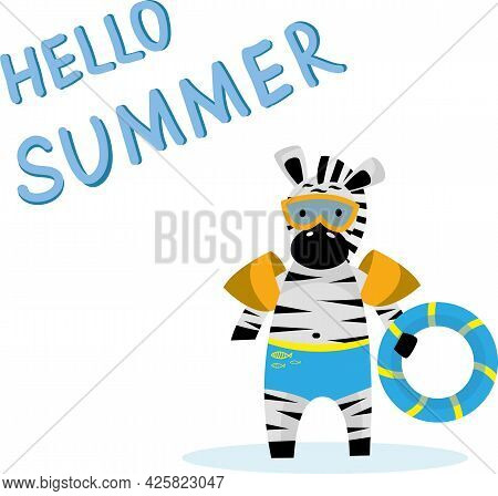 Cute Zebra Carrying A Float With Summer Greetings.vector Image