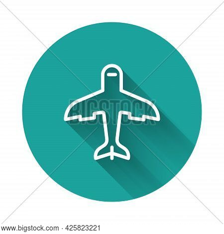 White Line Plane Icon Isolated With Long Shadow. Flying Airplane Icon. Airliner Sign. Green Circle B