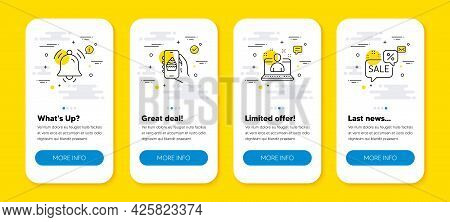 Vector Set Of Best Manager, Notification Bell And Food App Line Icons Set. Ui Phone App Screens With
