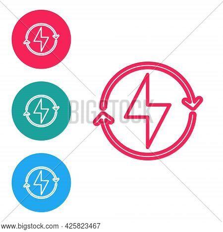 Red Line Lightning Bolt Icon Isolated On White Background. Flash Sign. Charge Flash Icon. Thunder Bo