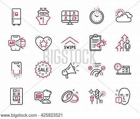Vector Set Of Business Icons Related To Coffee Vending, Refrigerator And Swipe Up Icons. Sunny Weath