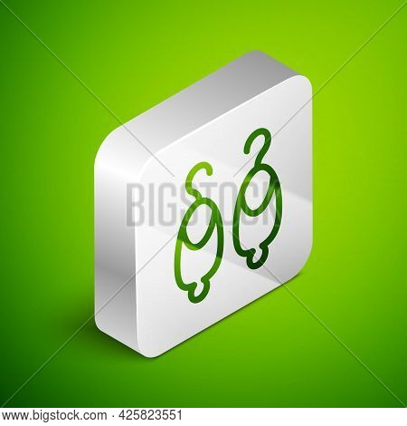 Isometric Line Earrings Icon Isolated On Green Background. Jewelry Accessories. Silver Square Button