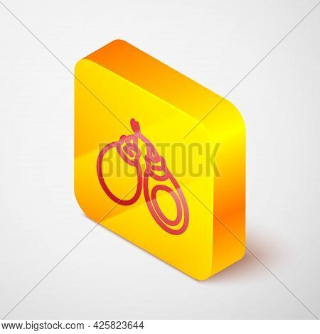 Isometric Line Musical Instrument Castanets Icon Isolated On Grey Background. Yellow Square Button.