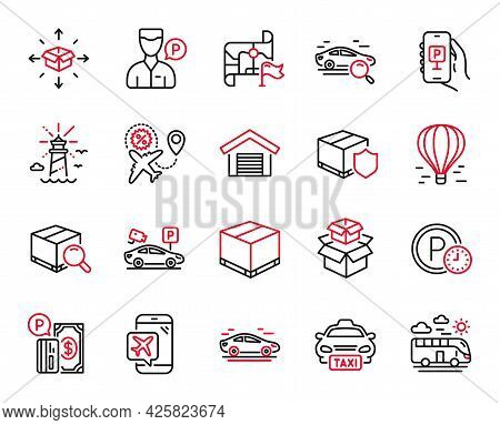 Vector Set Of Transportation Icons Related To Destination Flag, Lighthouse And Parking App Icons. Ca