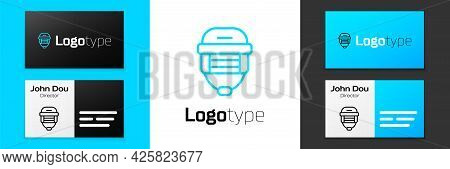 Blue Line Hockey Helmet Icon Isolated On White Background. Logo Design Template Element. Vector