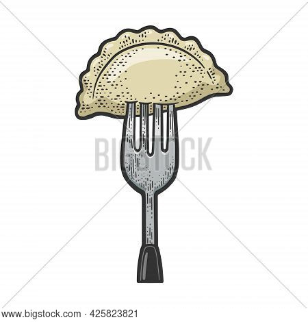 Dumpling On Fork Color Line Art Sketch Engraving Vector Illustration. T-shirt Apparel Print Design.