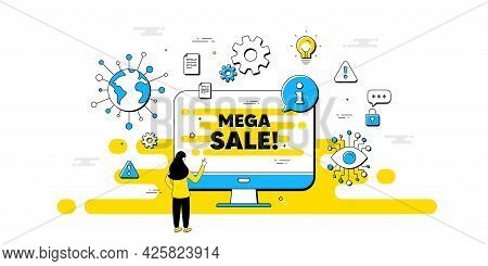 Mega Sale Text. Internet Safe Data Infographics. Special Offer Price Sign. Advertising Discounts Sym