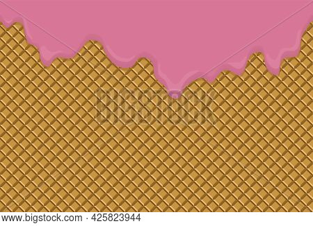 Fruit Ice Cream Melted On Waffle Background. Wafer Texture Seamless Pattern. For Advertising, Card,