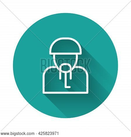 White Line Ukrainian Cossack Icon Isolated With Long Shadow. Green Circle Button. Vector