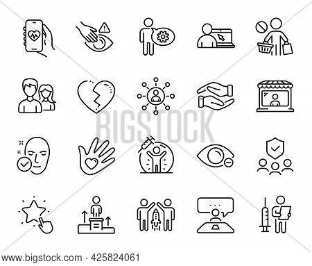 Vector Set Of Market Seller, Health Skin And People Insurance Line Icons Set. Cogwheel, Business Pod