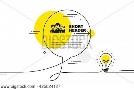 Group Icon. Continuous Line Idea Chat Bubble Banner. Users Or Teamwork Sign. Male And Female Person