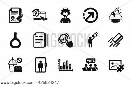 Vector Set Of Consultant, Work Home And Copy Documents Icons Simple Set. Elevator, Fast Food And Gra