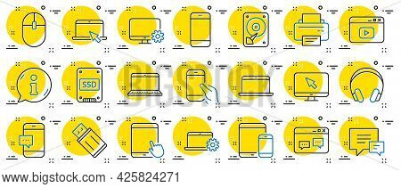Mobile Device Line Icons. Laptop, Tablet Pc And Smartphone Icons. Hdd, Ssd And Flash Drive. Headphon