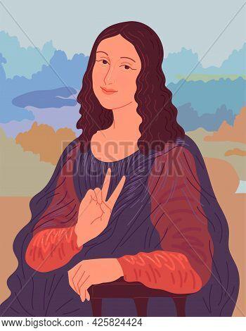 Portrait Of Woman Showing V Sign. Illustration Based On Leonardo Da Vinci Mona Lisa