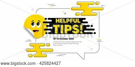 Helpful Tips Text. Cartoon Face Sticker With Chat Bubble Frame. Education Faq Sign. Help Assistance