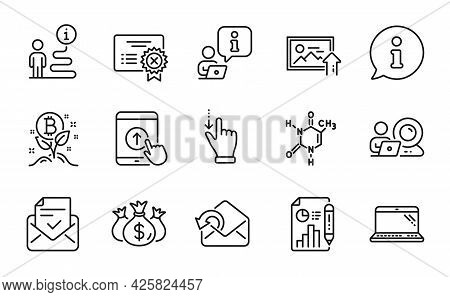 Technology Icons Set. Included Icon As Laptop, Check Investment, Bitcoin Project Signs. Send Mail, V