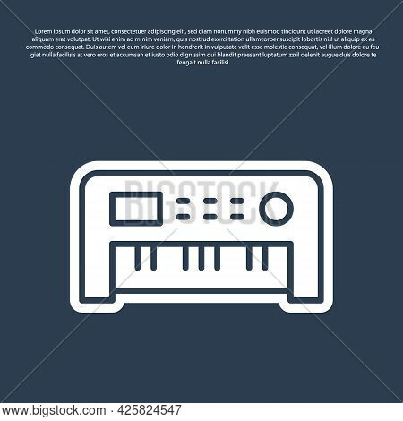 Blue Line Music Synthesizer Icon Isolated On Blue Background. Electronic Piano. Vector