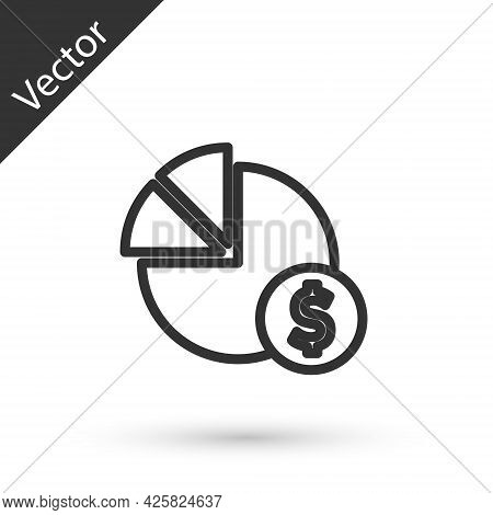 Grey Line Pie Chart Infographic And Dollar Symbol Icon Isolated On White Background. Diagram Chart S