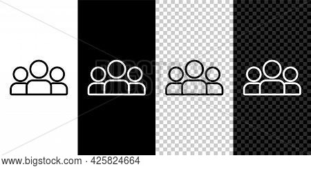 Set Line Users Group Icon Isolated On Black And White Background. Group Of People Icon. Business Ava
