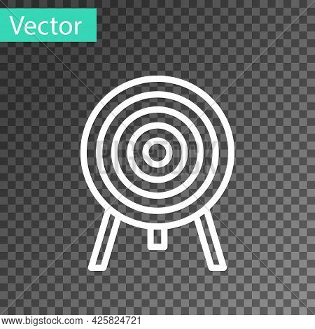 White Line Target Icon Isolated On Transparent Background. Dart Board Sign. Archery Board Icon. Dart