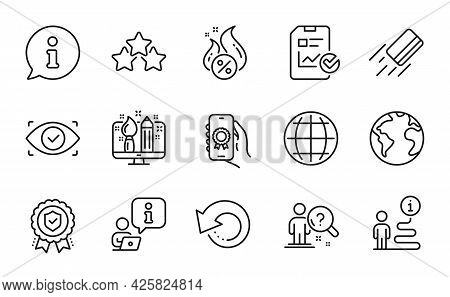 Technology Icons Set. Included Icon As World Planet, Hot Loan, Biometric Eye Signs. Award App, Globe