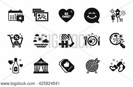 Vector Set Of Photo Album, Smile Face And Romantic Dinner Icons Simple Set. Travel Sea, Circus Tent