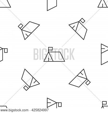 Grey Line Protest Camp Icon Isolated Seamless Pattern On White Background. Protesting Tent. Vector