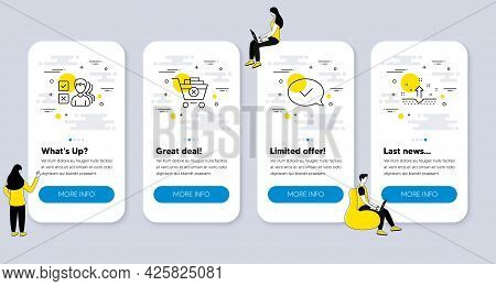 Set Of Line Icons, Such As Remove Purchase, Opinion, Approved Message Icons. Ui Phone App Screens Wi