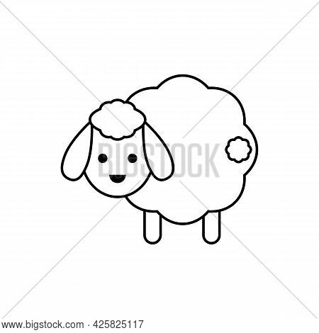 Cute White Sheep With Tail. Vector Drawing. Lamb Linear Outline Isolated Illustration.
