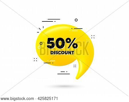 50 Percent Discount. Yellow 3d Chat Bubble. Sale Offer Price Sign. Special Offer Symbol. Discount Mi
