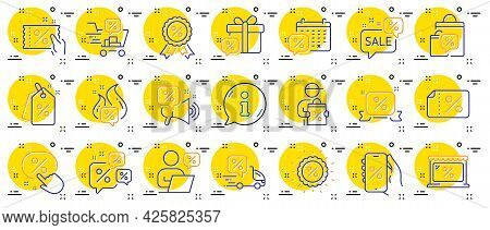 Discounts Line Icons. Sale Coupon, Phone With Percent Sign, Discount Price Tag. Wholesale Store Mark