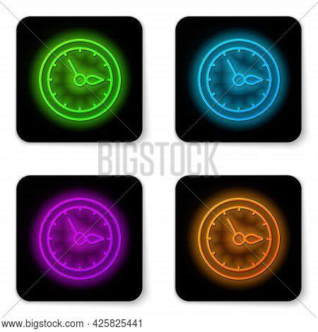 Glowing Neon Line Sauna Clock Icon Isolated On White Background. Sauna Timer. Black Square Button. V