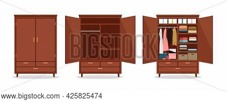 Close Open Wardrobe. Wardrobes With Clothes And Shoes, Packaging Boxes. Isolated Wooden Cupboard Vec