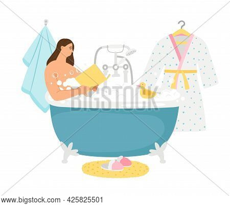Female Take Bath. Relaxation, Woman Read Book In Bathroom. Girl Evening Relax Vector Scene