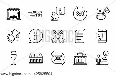 Business Icons Set. Included Icon As Wineglass, Cooking Water, 360 Degree Signs. Coffee Shop, Mattre