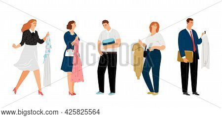 People Holding Clothes. Men Women Fashion Store Characters, Isolated Cartoon Persons With Dress, T-s