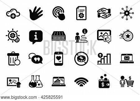 Vector Set Of Business Icons Related To Cloud Computing, Love Chat And Buyer Icons. Multichannel, Ma