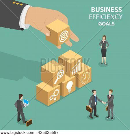 3d Isometric Flat Vector Conceptual Illustration Of Business Efficiency Goals, Precise, Efficient An