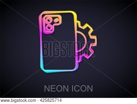 Glowing Neon Line Phone Repair Service Icon Isolated On Black Background. Adjusting, Service, Settin