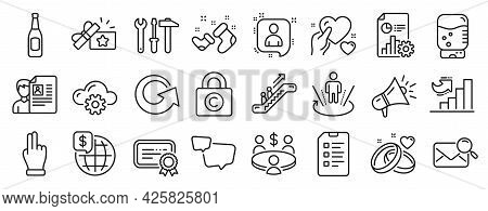 Set Of Business Icons, Such As Spanner Tool, Click Hand, Reload Icons. Growth Chart, Copyright Locke