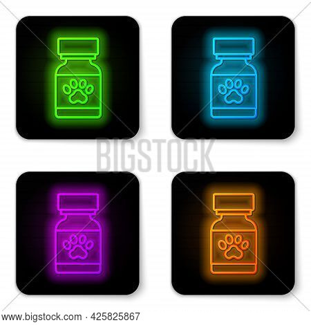 Glowing Neon Line Medicine Bottle And Pills Icon Isolated On White Background. Container With Pills.