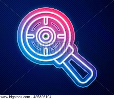 Glowing Neon Line Target Financial Goal Concept With Magnifying Glass Icon Isolated On Blue Backgrou