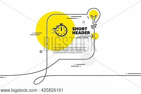 Cooking Timer Icon. Continuous Line Idea Chat Bubble Banner. Frying Stopwatch Sign. Food Preparation