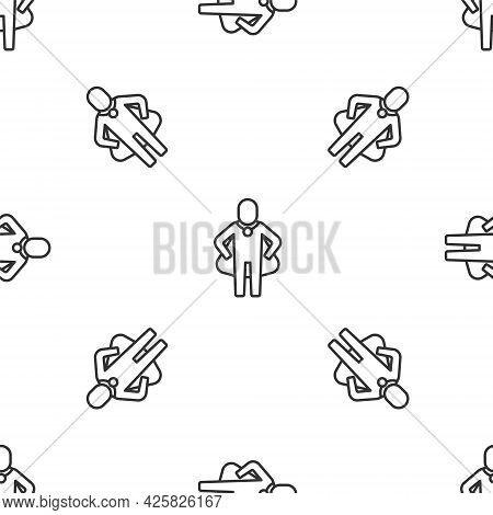 Grey Line Head Hunting Icon Isolated Seamless Pattern On White Background. Business Target Or Employ