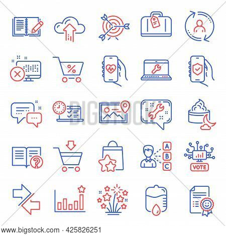 Business Icons Set. Included Icon As Night Cream, Reject Access, Online Voting Signs. Efficacy, Lapt