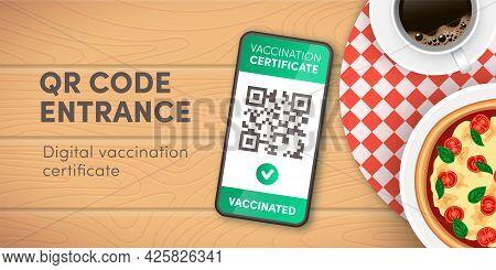 Safe Restaurant, Cafe, Pizzeria Entrance Vector Banner. Covid-19 Digital Health Passport Qr Code On