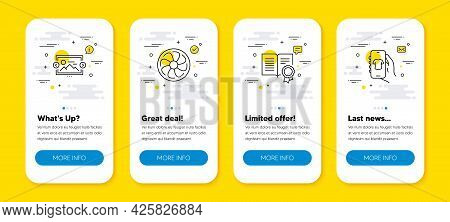 Vector Set Of Image Carousel, Fan Engine And Diploma Line Icons Set. Ui Phone App Screens With Line