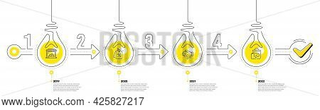 Lightbulb Journey Path Infographics. Trade Infographic Timeline With 4 Steps. Shopping Process Diagr