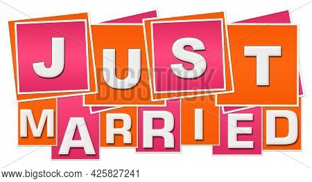 Just Married Text Written Over Pink Orange Background.