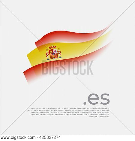 Spain Flag Watercolor. Colored Stripes Spanish Flag On A White Background. Vector Stylized Design Of